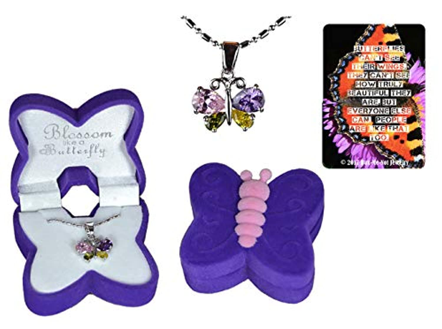 Girl's cubic zirconia crystal white gold-plated butterfly necklace gift set in purple and pink velour butterfly jewellery box with inspirational quote butterfly bookmark