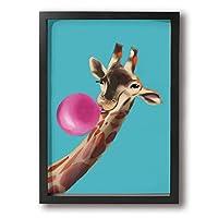キリン アートフレーム 壁掛け インテリア絵画 部屋 装飾 額縁 フレーム付き 釘付き アート ポスター ウォールアート A4 (33X24cm )