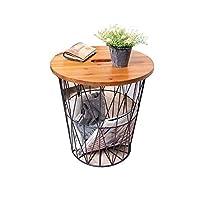 HANSHAN サイドテーブル サイドテーブル、鉄/木製丸型収納バスケット小さなコーヒーテーブル、シンプルなベッドサイドテーブル、ソファサイドテーブル、寝室用リビングルーム16.7x16.5インチ