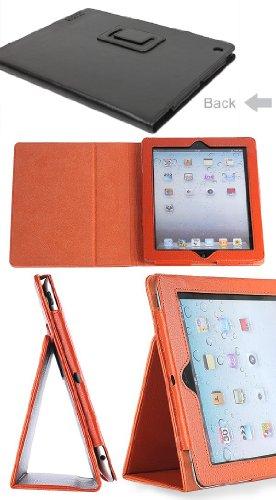ipad2/ipad3/iPad4ケースカバー 第2/3/4世代 レザーケースカバー smart cover対応 (オレンジ&ipad2/ipad3/iPad4)