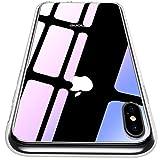【CASEKOO】iphone XS ケース 強化ガラスケース クリア 硬度9H 全面保護カバー アイフォン XS ケース 透明 ハードケース qi対応 クリア [Ice Series]