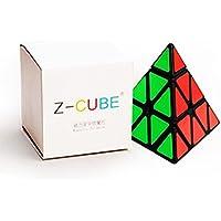 風の翼 - ピラミッドキューブ 磁石内蔵の競技用 3×3 キューブ 世界基準配色 ステッカー 磁力 パズル スタンド付き 回転スムーズ 抜群の安定感 (黒の)