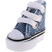 KOZEEY バービー人形アクセサリー デニムブルー ハイトップ キャンバスシューズ 靴 1ペア レースアップ