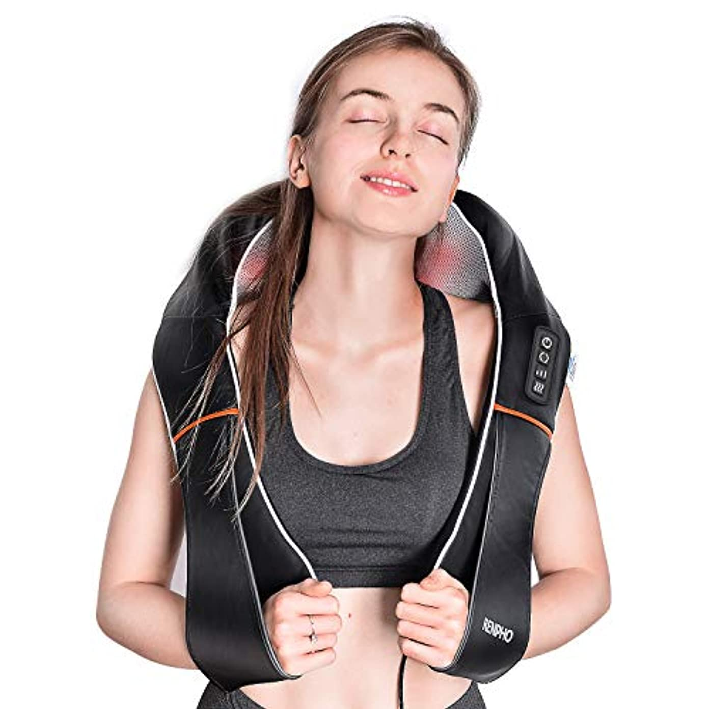 どきどきコンペ順応性RENPHO Electric Shiatsu Neck and Back Massager with Heat and Vibration, Deep Tissue 3D Kneading Massage Pillow...