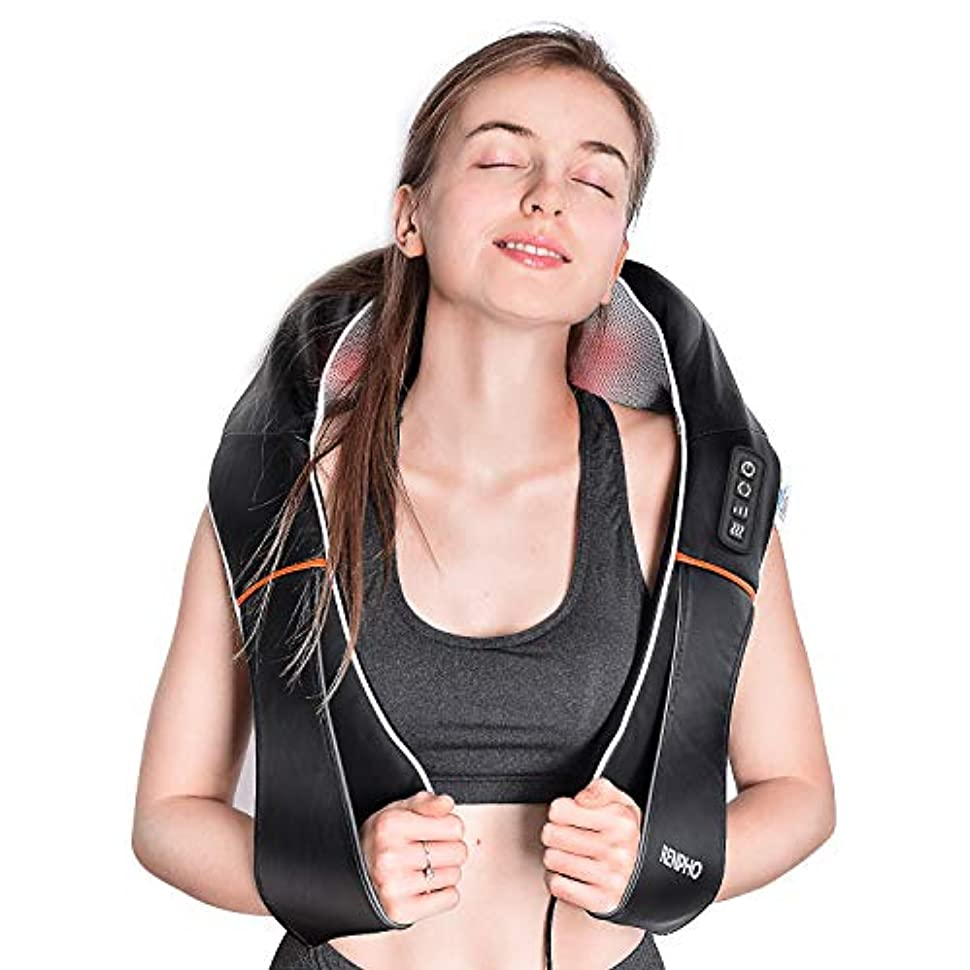 通路陸軍優しさRENPHO Electric Shiatsu Neck and Back Massager with Heat and Vibration, Deep Tissue 3D Kneading Massage Pillow...