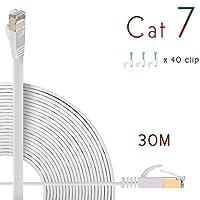 Cat7 LANケーブル 30m ホワイト,イーサネットケーブル カテゴリー7 [Hanyun®一年間保証] 10Gbps/600MHz ウルトラフラットケーブル 高速 STP 爪折れ防止 for PS4 Xbox モデム ルータ RJ45 金メッキコネクタ …