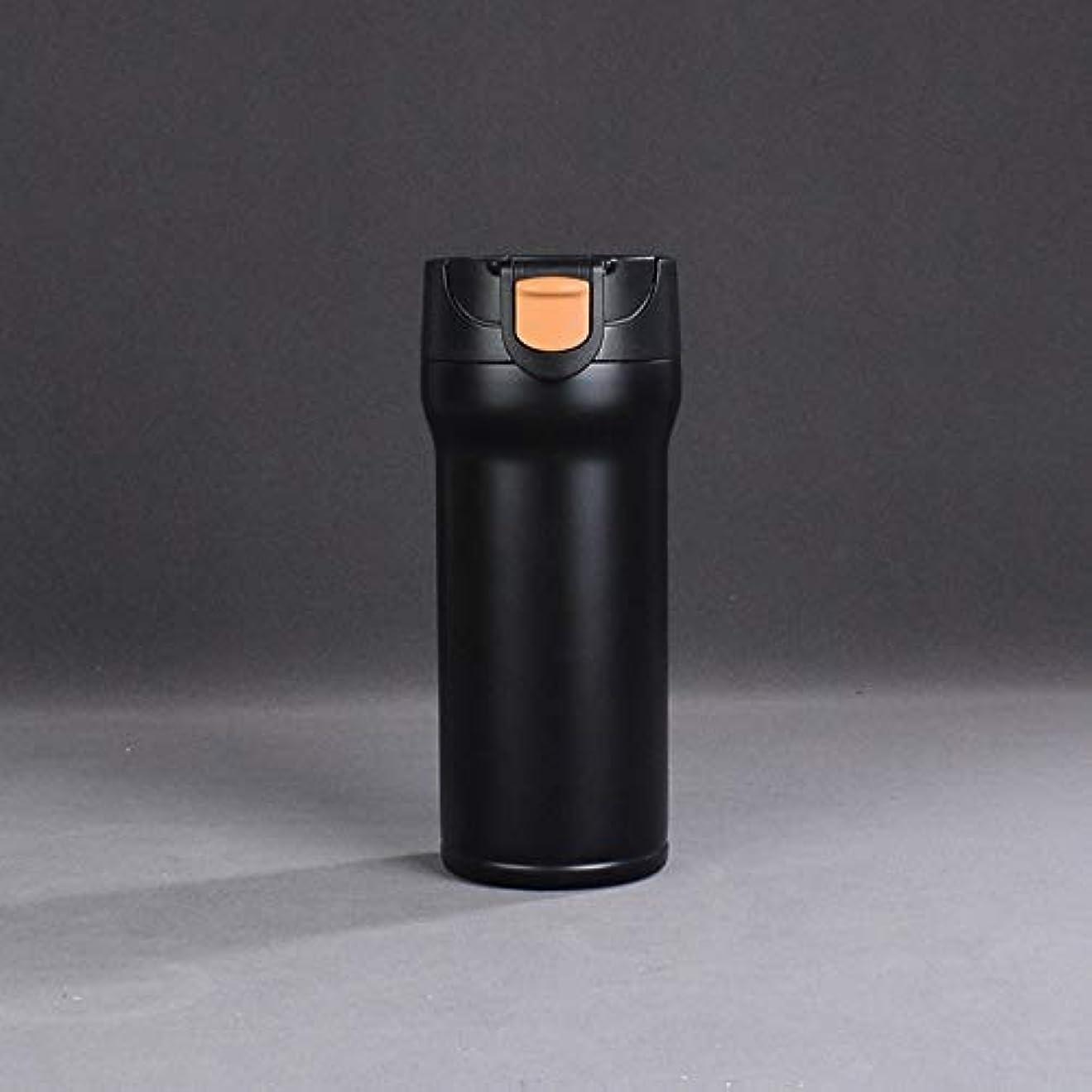 キャンパスエレベーター減衰Xiaoyuna 350ミリリットルステンレス鋼魔法瓶カップサーモカップ断熱タンブラー真空フラスコガラファテルミカサーモコーヒーマグ旅行ボトルマグ (Color : 350ml-Black-gold-kf4, Size : One size)