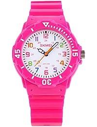 かわいい、赤、子供たちの子供たちは男の子女の子の学生のためのカラフルなダイアル屋外スポーツクォーツ時計を見てバラ