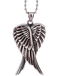 grenf ®ファッション2016新しいスタイルのステンレススチールダブル天使の翼ネックレスフェザーペンダントメンズ