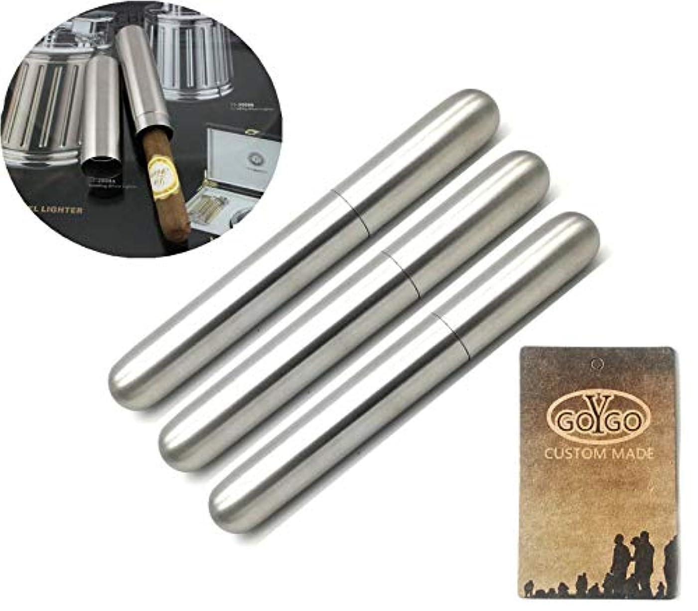 護衛女王世界ヒュミドール 葉巻ケース  シガー チューブ ステンレス ケース 携帯 保管 喫煙具 (3本)