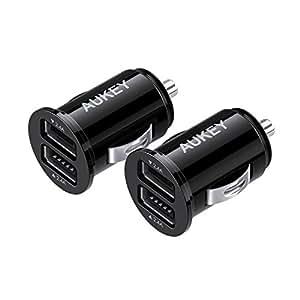 【2個セット】AUKEY USBカーチャージャー シガーソケットチャージャー 4.8A/24W 小型 スマホUSB充電器 (ブラック) CC-S1