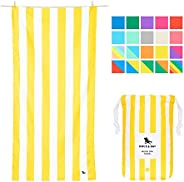 Quick Drying Striped Oversized Beach Towels - Boracay Yellow, Extra Large (200x90cm, 78x35) - XL Compact Towel
