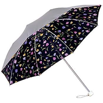 日傘 折りたたみ 晴雨兼用 ひんやり傘 UVカット 遮光 遮熱【LIEBEN-0577】 シルバー/チューリップ(ブラック)