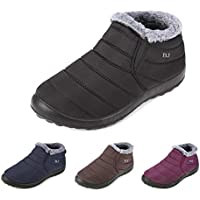 gracosy Warm Snow Boots, Winter Warm Ankle Boots, Fur Lining Boots,Waterproof Thickening Winter Shoes for Women and Men