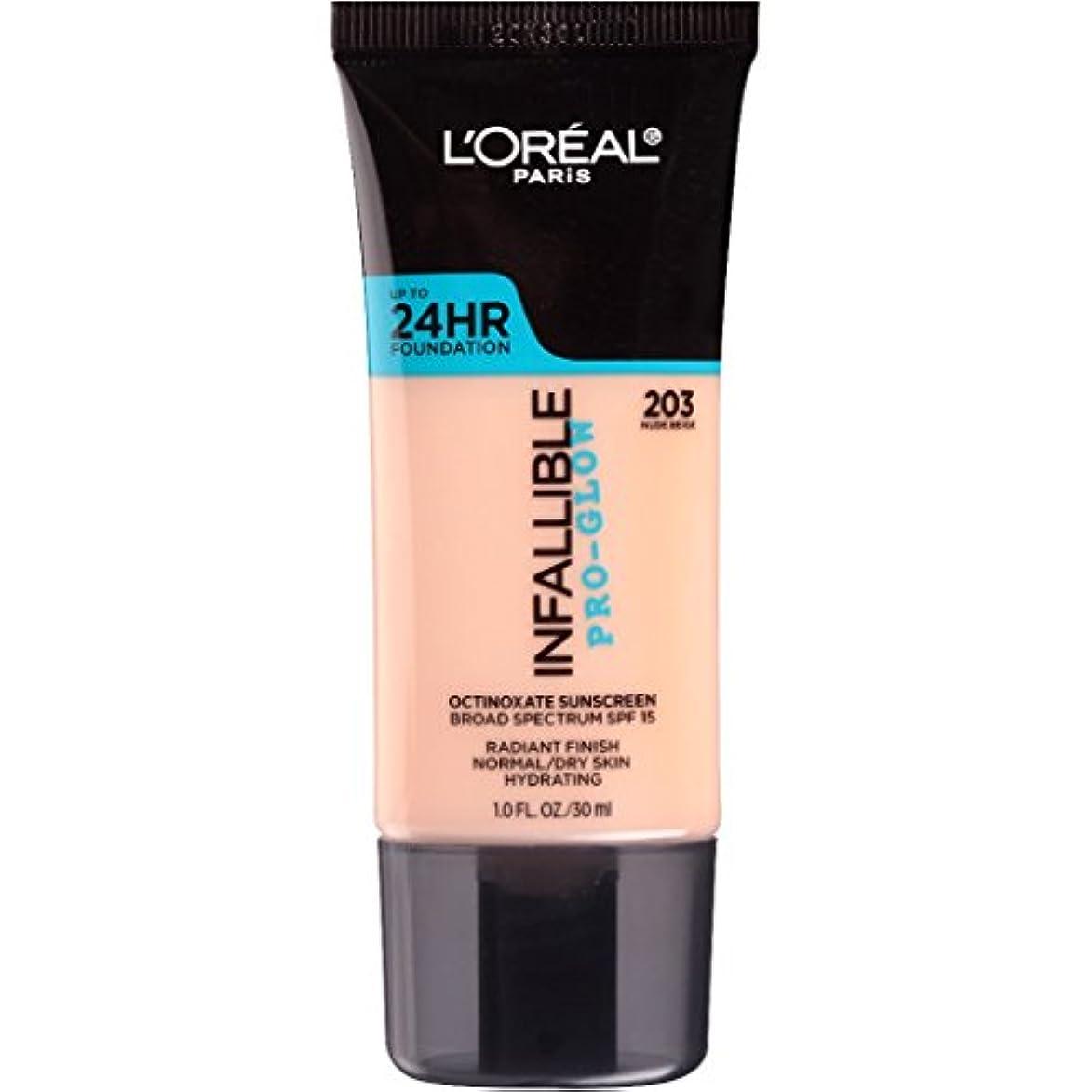 贅沢な挽くスラダムL'OREAL Infallible Pro-Glow Foundation - Nude Beige (並行輸入品)