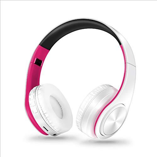 Bluetoothヘッドホン ワイヤレス ヘッドフォン 高音質 重低音 折りたたみ式 ケーブル着脱式マイク付き(ローズ+ホワイト)