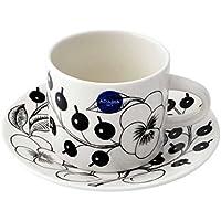 アラビア Arabia AR006674+AR006675 Black Paratiisi Cup&Saucer set 180ml/14cm ブラックパラティッシ コーヒーカップ&ソーサー(プレート皿)セット ≪北欧食器≫ [並行輸入品]