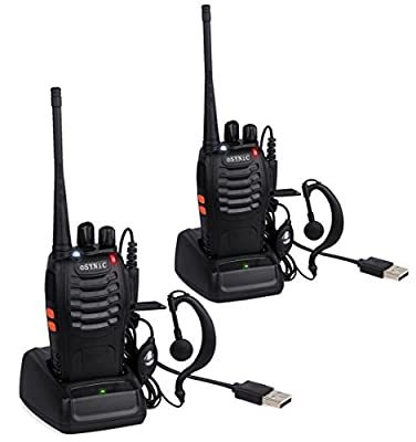 eSynic Walkie Talkies, Long Range Two-Way Radio UHF 400-470MHz Walky Talky Original Earpieces-16CH Single Band FM Handheld Transceiver LED Light Voice Prompt