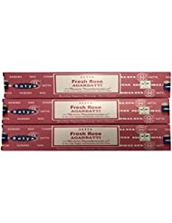Satya Nag Champa – Fresh Rose Incense Sticks – パックof 3 ( 15グラム各)