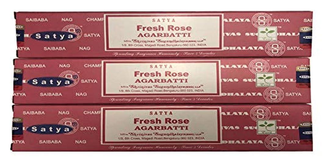 として練習した独立したSatya Nag Champa – Fresh Rose Incense Sticks – パックof 3 ( 15グラム各)