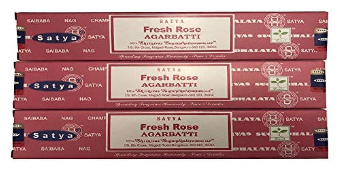 貸す早める電話をかけるSatya Nag Champa – Fresh Rose Incense Sticks – パックof 3 ( 15グラム各)