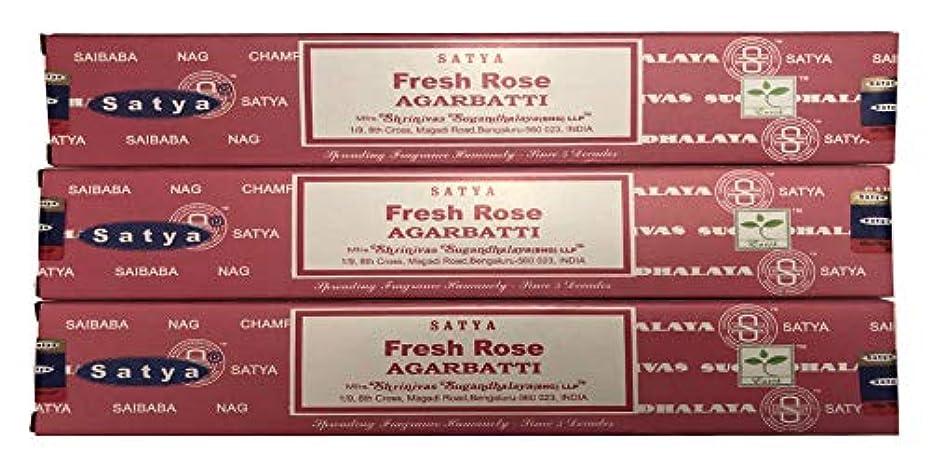 テレビ傀儡部分的にSatya Nag Champa – Fresh Rose Incense Sticks – パックof 3 ( 15グラム各)