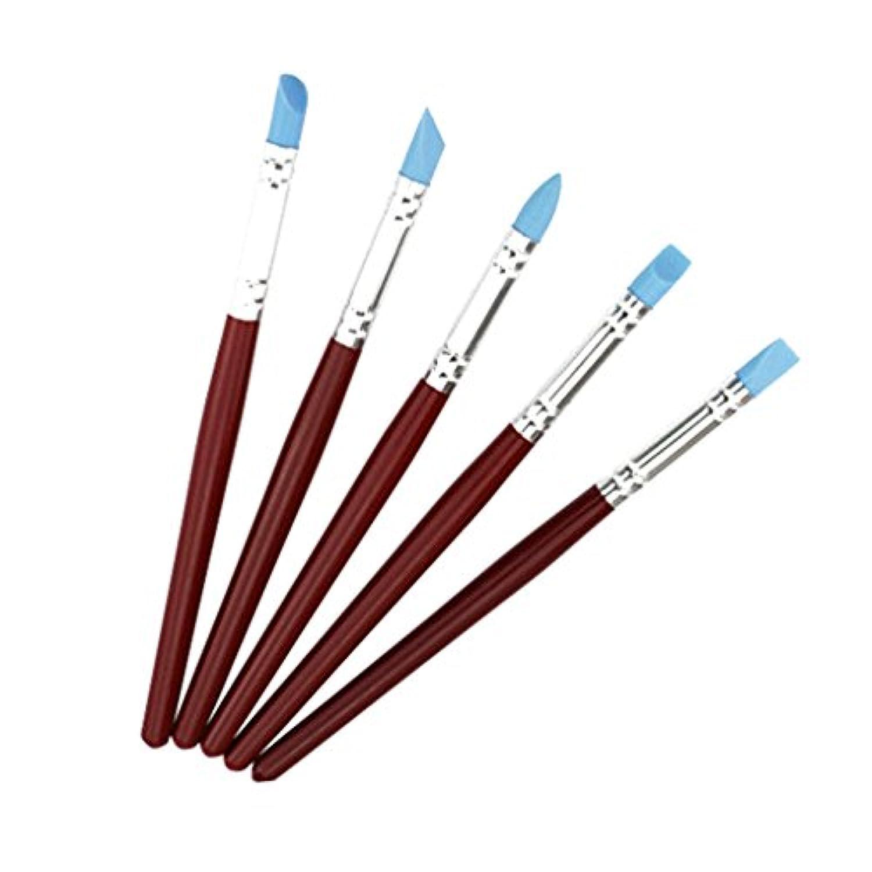 Perfk シリコーン カラー シェーパー 油彩 水彩 パステル インク 絵 成形 ツール セット 5本入り