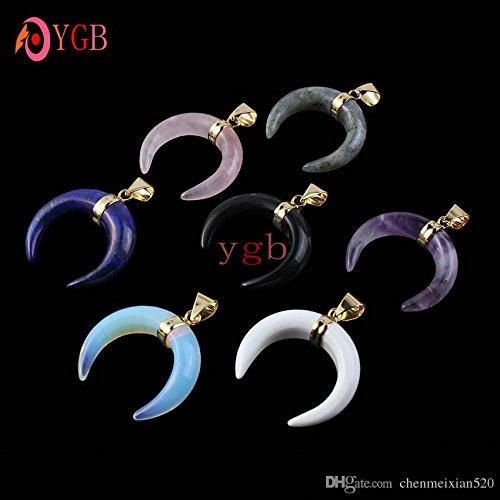 の YGB 10 PC 金めっき混合スタイルロッククリスタル色の三日月の魅力ペンダント月の宝石類の 1 ロット