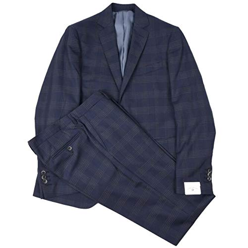 TORNABUONI (トルナブォーニ) GIOTTO スーツ シングル 2つボタン メンズ 春夏 DORMEUIL AMADEUS365 ウール 100% チェック ネイビー ブラウン 紺 L【並行輸入品】