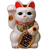常滑焼  招き猫 梅月   白小判猫 (右手)8号高さ:25cm 14ねこ05