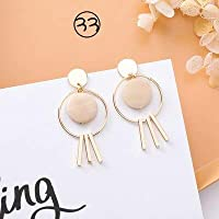 Row&lingAOMU 2019 新韓国アクリル樹脂ラウンド綿の房のドロップブラブラステートメント女性ホワイトジュエリー Pendientes ギフト イヤリング レディース