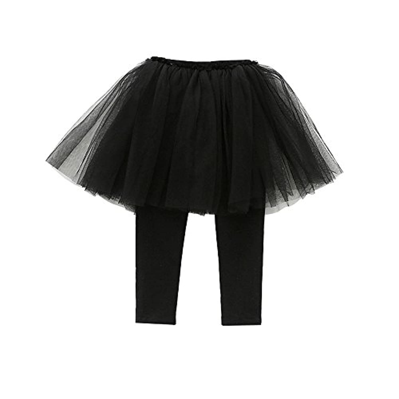Fairy Baby 女の子 チュチュスカート付 レギンス 10分丈 キーズ フォーマル スカッツ パニエ size 80 (ブラック)
