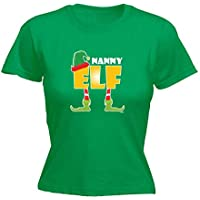 123t Funny Tee - Elf Nanny - Womens Fitted Cotton T-Shirt Top T Shirt