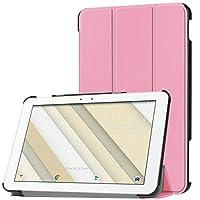 Qua tab QZ10 KYT33 タブレット ケース 新型 au Qua tab QZ10 カバー スタンド機能付き 保護ケース 三つ折 マグレット開閉式 薄型 超軽量 全面保護型 Au Qua tab QZ10スマートケース【オートスリープ】 (ピンク)