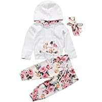 BiggerStore 3Pcs/Set Infant Baby Girl Long Sleeve Hoodie Tops+Floral Pants+Headband Outfit Tracksuit