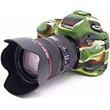 TUYUNG Silicone Protective Cover Skin Camera Case for Canon EOS 5D Mark III, 5Ds, 5Ds R Digital SLR Camera - Army Green