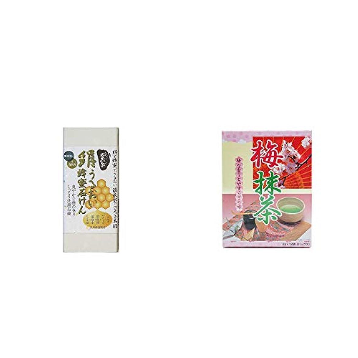環境に優しい木製せせらぎ[2点セット] ひのき炭黒泉 絹うるおい蜂蜜石けん(75g×2)?梅抹茶[小](12袋)