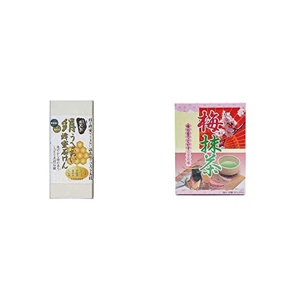 抹消橋脚戸棚[2点セット] ひのき炭黒泉 絹うるおい蜂蜜石けん(75g×2)?梅抹茶[小](12袋)