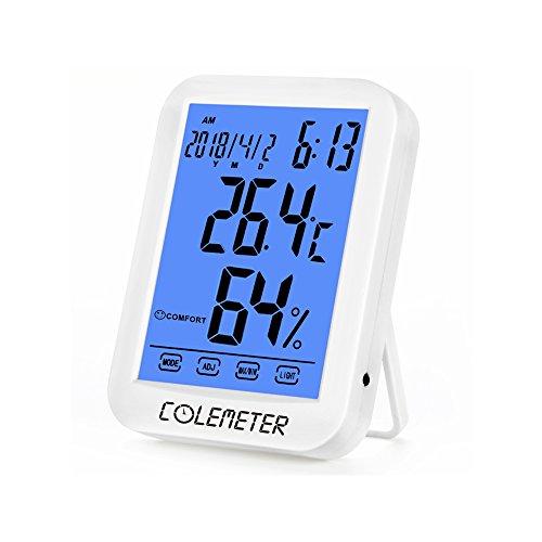 温度計・湿度計-デジタル湿度計 温度計 室内 時計 目覚ましLCD大画面 COLEMETER温湿度計 最高最低温湿度表示 タッチスクリーン バックライト 置き掛け両用