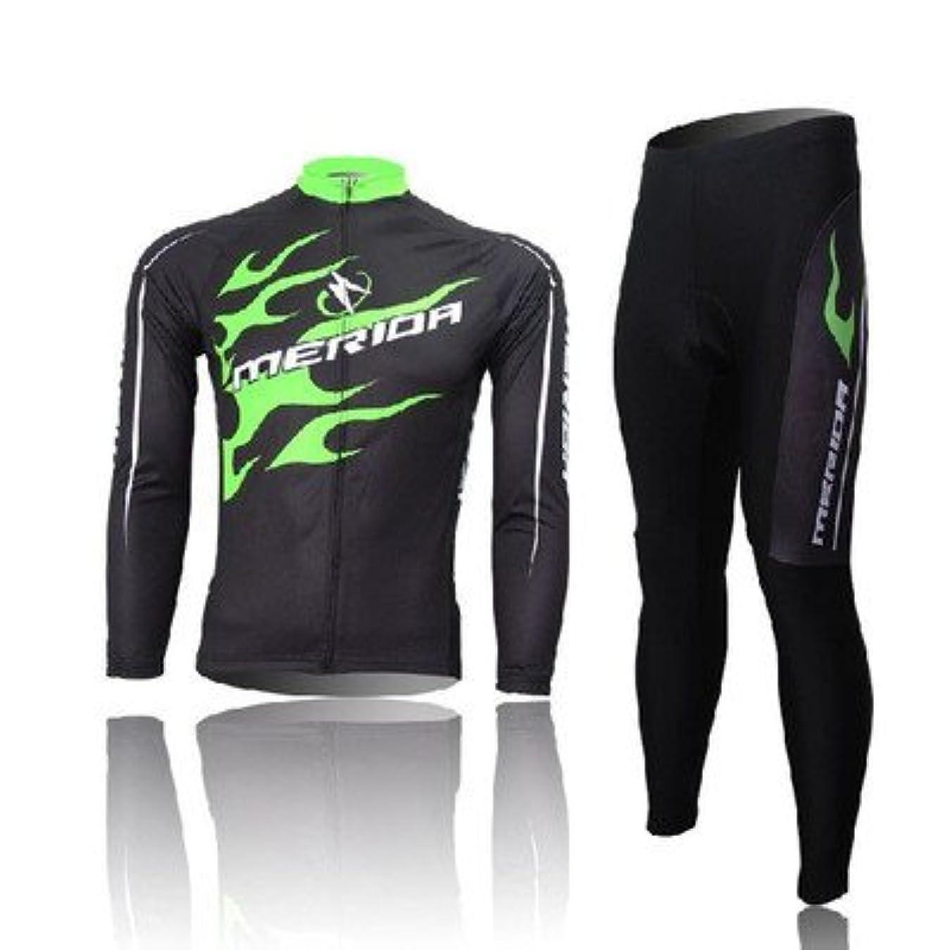 あいまいな斧愛するサイクルウェア 自転車ジャージ 長袖 内側薄起毛タイプ 上下セット パンツモデル