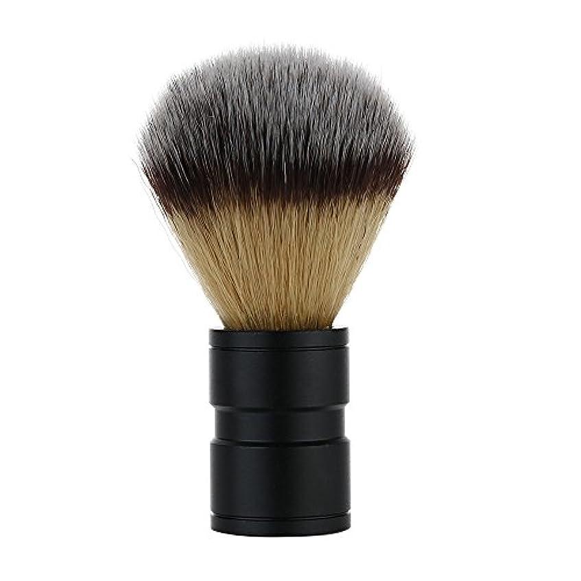 着服二十アマチュア男性 バッジヘアシェービングブラシ かみそり 毛 剃る ブラシ アナグマ ハンドル アルミ合金 ブラック