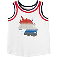 Patriotic Toddler Girls Unicorn Red White and Blue Tank Top