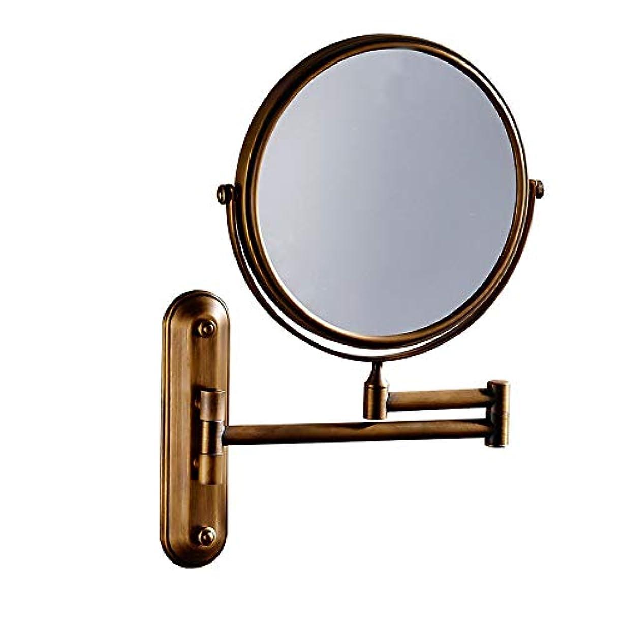 ブルーベル安定しましたローラー化粧鏡 LED照明虫眼鏡両面回転3回虫眼鏡壁掛け美容化粧鏡調節可能なバスルーム化粧台化粧鏡化粧鏡 浴室のシャワー旅行 (色 : ゴールド, サイズ : ワンサイズ)