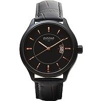 PICONO Royal Monarch時間と日付防水アナログクオーツ腕時計–No。1304(ブラック/ブラック)