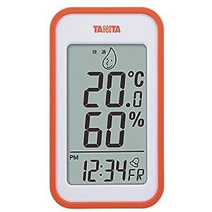 タニタ(Tanita) 温湿度計 デジタル オレンジ TT-559 OR 壁掛け 時計付き 卓上 マグネット