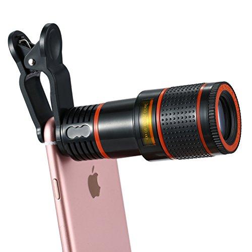 [Knguvth正規品] 12Xズーム HDスマホ望遠レンズ クリップ式望遠鏡 高性能単眼鏡 16°広い視角 撮影距離3~800メートル Iphone&Android多機種対応 コンパクトサイズ(レッド)