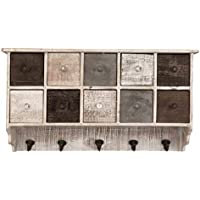 Avignon Home カントリー 素朴 ブラウン 木製 壁 オーガナイザー シェルフラック/壁 キャビネット 引き出し & 金属フック付き