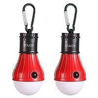 STAJOYキャンプ用電球、テントライトポータブル吊り下げ式LEDランプ、ハイキング用バッテリ駆動の非常灯、釣り、バックパッキング、ハリケーン(赤2パック)