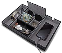 """HOUNDSBAY""""Victory Valet Tray for Men with Large Smartphone Charging Station (Grey) [並行輸入品]"""