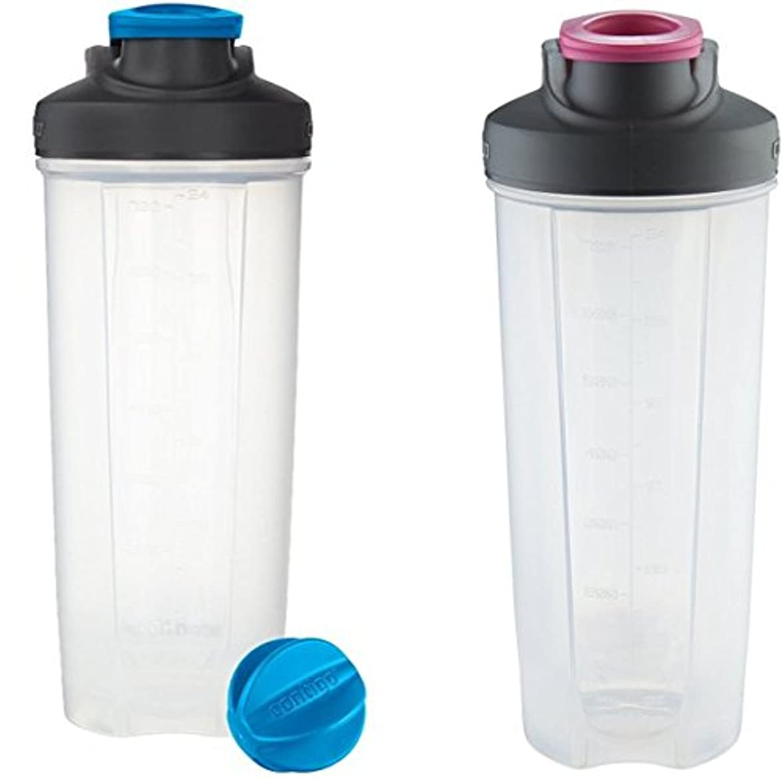 品絡まる不潔Contigo Shake & Go Fitミキサーボトル、ブルー&ピンク28oz